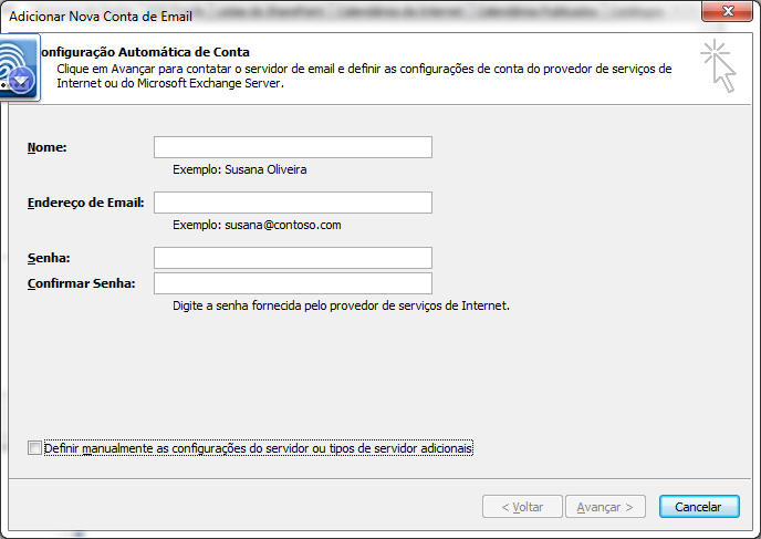 Configurando email no outlook